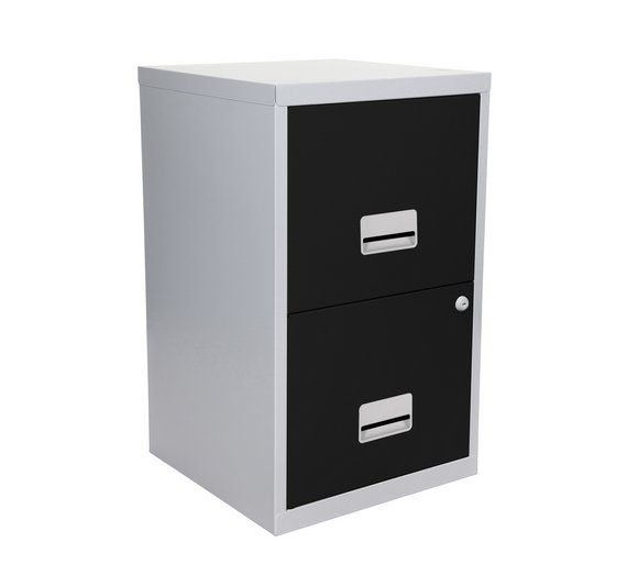 buy metal 2 drawer filing cabinet silver and black at