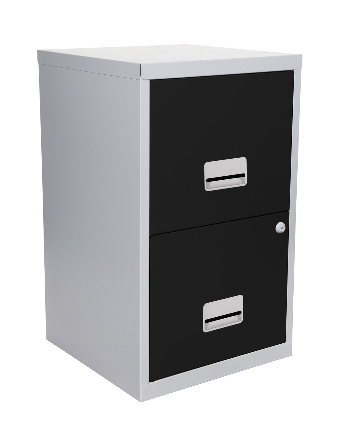 metal 2 drawer filing cabinet silver and