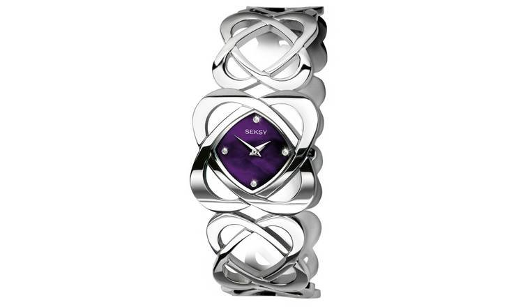 Seksy Ladies' Purple Dial Crystal Set Hidden Hearts Watch