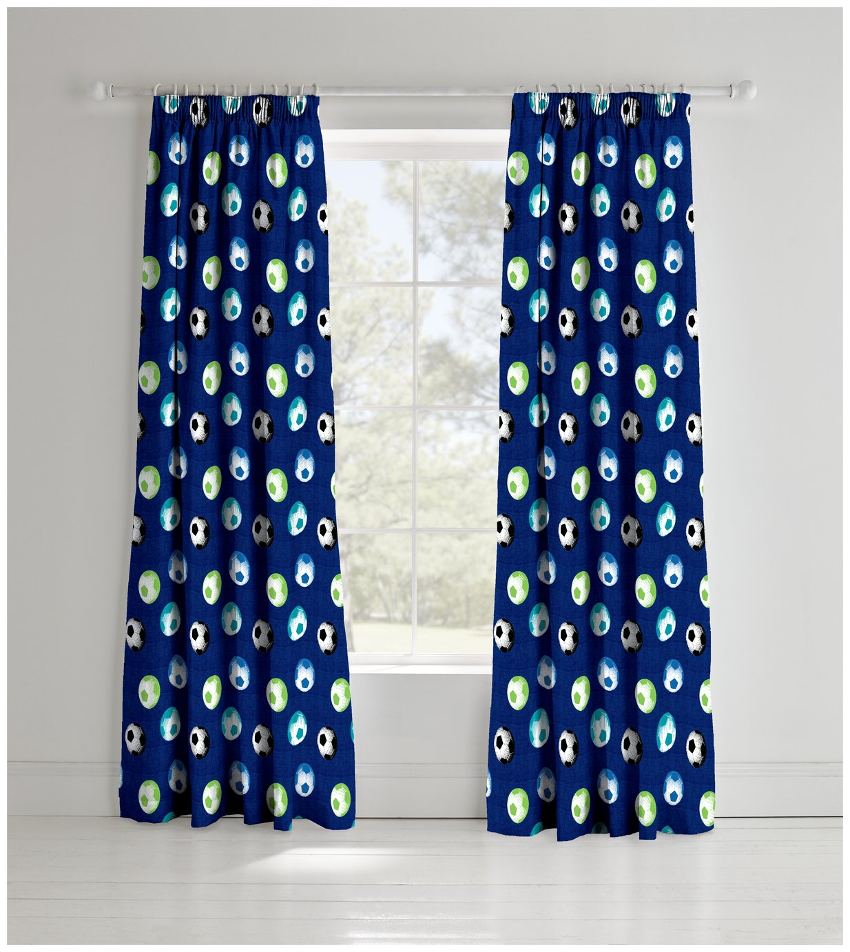 Catherine Lansfield Football Curtains - 165cmx180cm - Blue