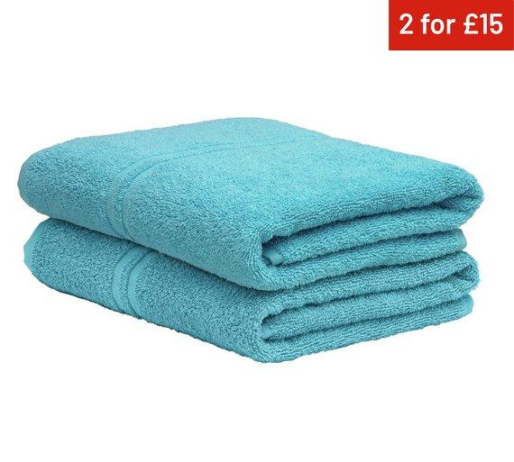 colourmatch pair of bath towels crystal blue