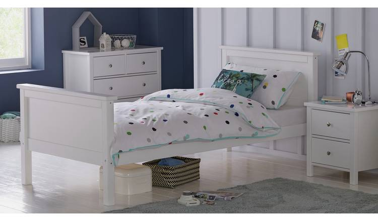 Argos Home Brooklyn Single Bed and Kids Mattress - White