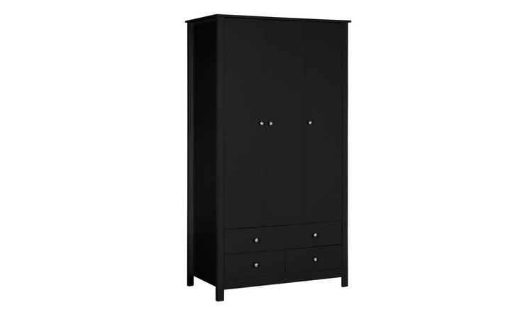 Habitat Osaka 3 Door 4 Drawer Wardrobe - Black