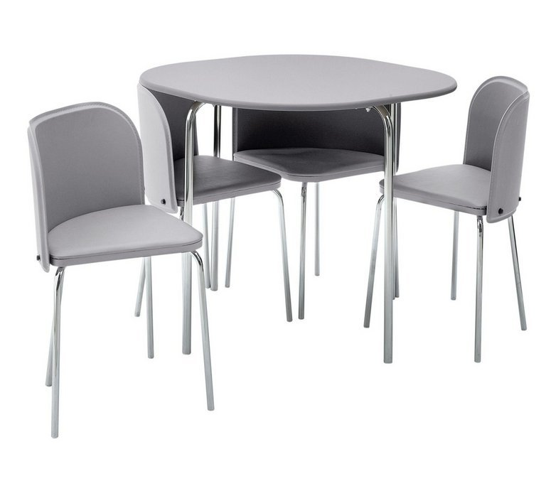 Space Saving Dining Table And Chairs buy hygena amparo space saving dining table & 4 chairs - grey at