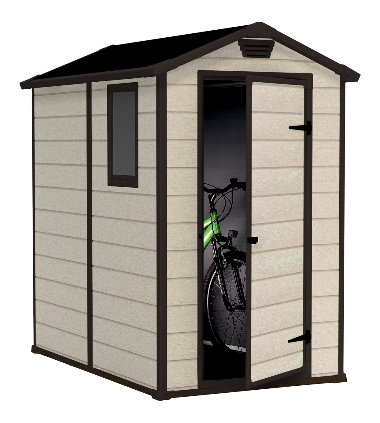 Keter Manor Apex Garden Storage Shed 4 x 6ft - Beige/Brown