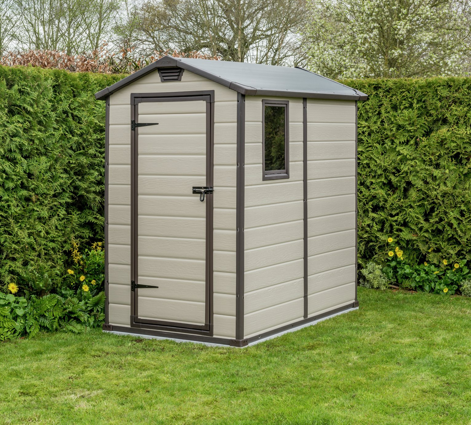Garden Sheds 6x4 buy keter manor plastic beige & brown garden shed - 4 x 6ft at
