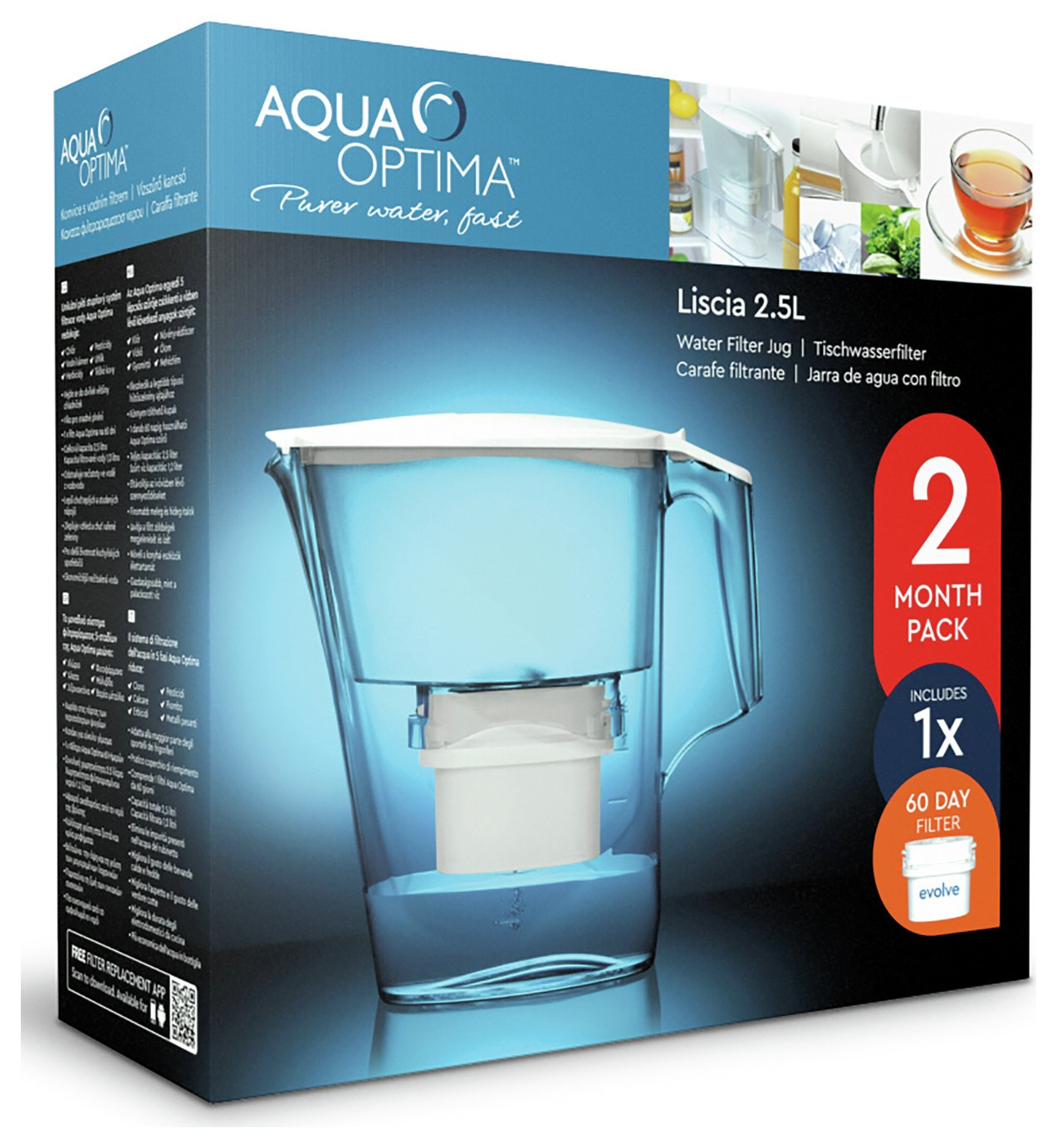 Image of Aqua Optima - Liscia White Jug with Cartridge - Pack of 1