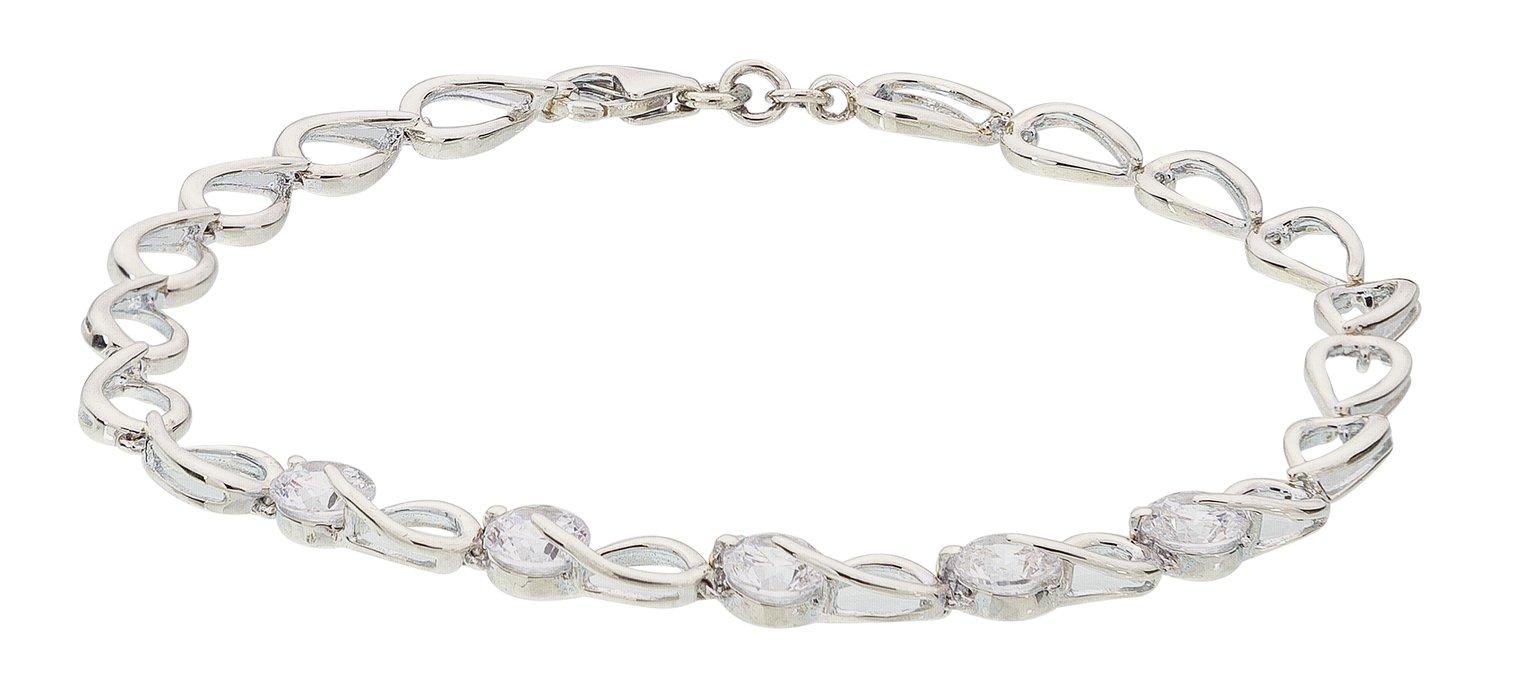 Revere Platinum Plated Silver Cubic Zirconia Bracelet