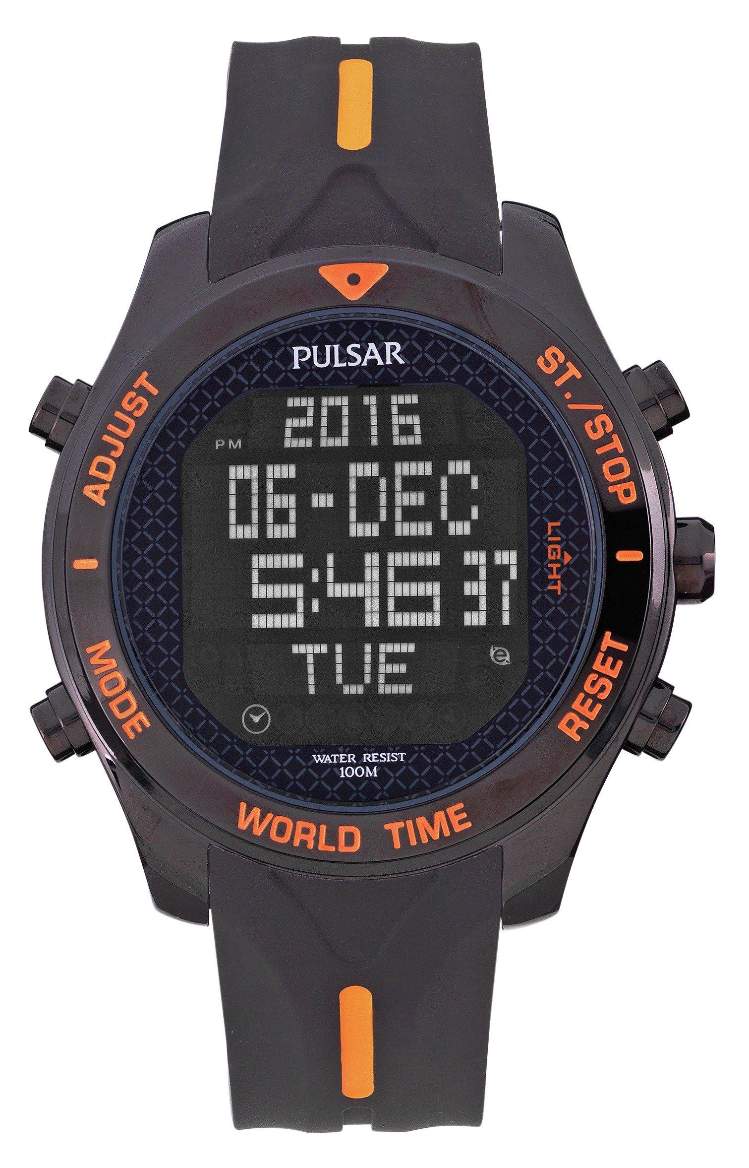 Pulsar Men's Black Stainless Steel Digital Watch