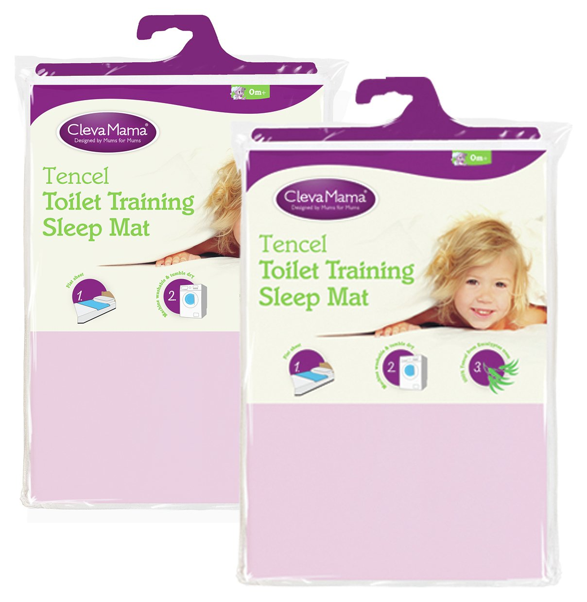 Image of Clevamama - 2 Pack Tencel Toilet Training Mat - Pink