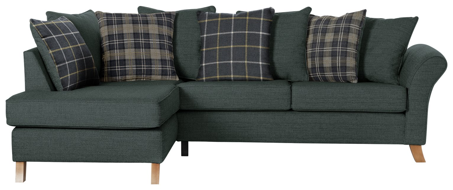 Argos Home Kayla Left Corner Scatter Back Sofa - Charcoal