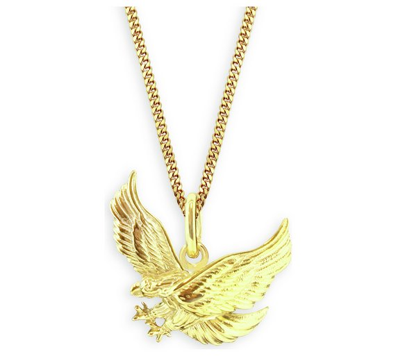Buy revere mens 9ct gold plated silver eagle pendant mens click to zoom mozeypictures Gallery