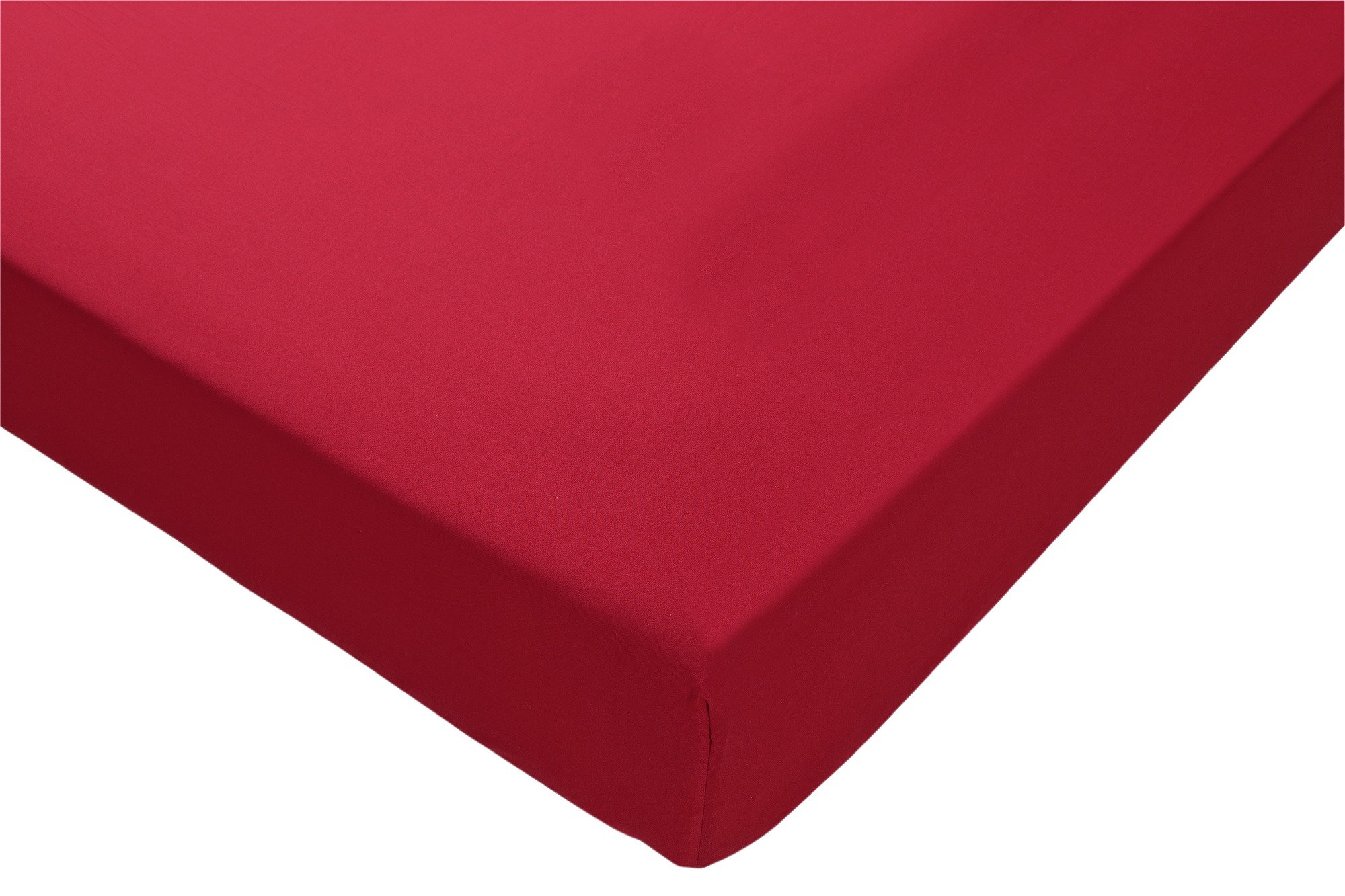 collection deep red non iron fitted sheet  double