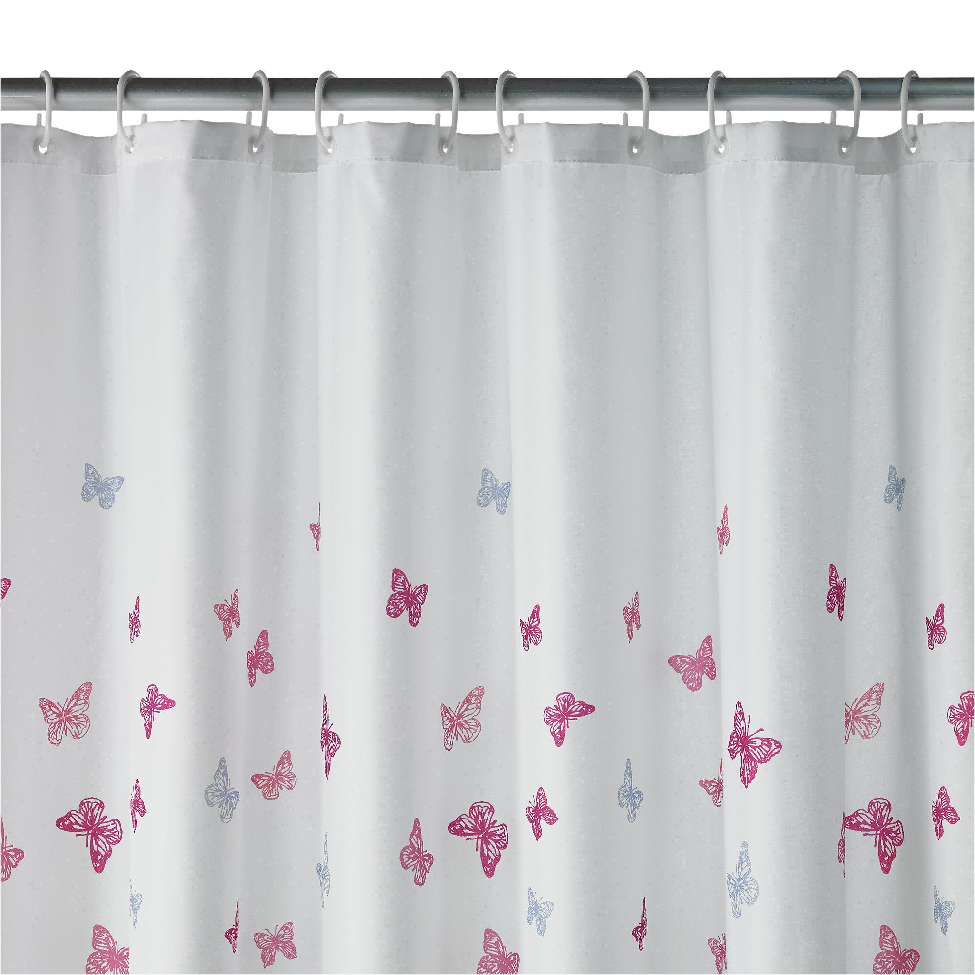 home butterfly scatter shower curtain white u0026 pink
