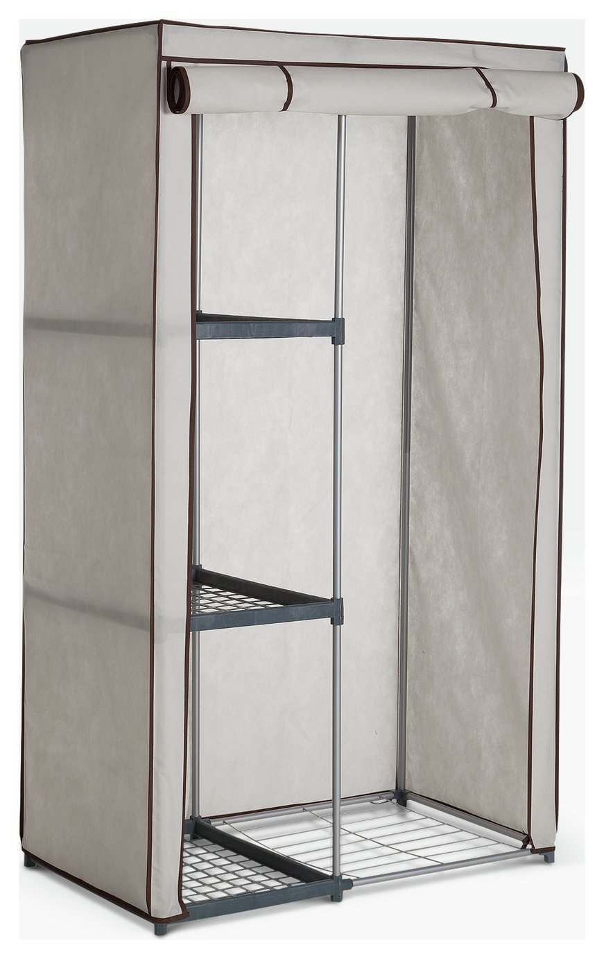 Argos Home Metal and Polycotton Single Wardrobe - Cream