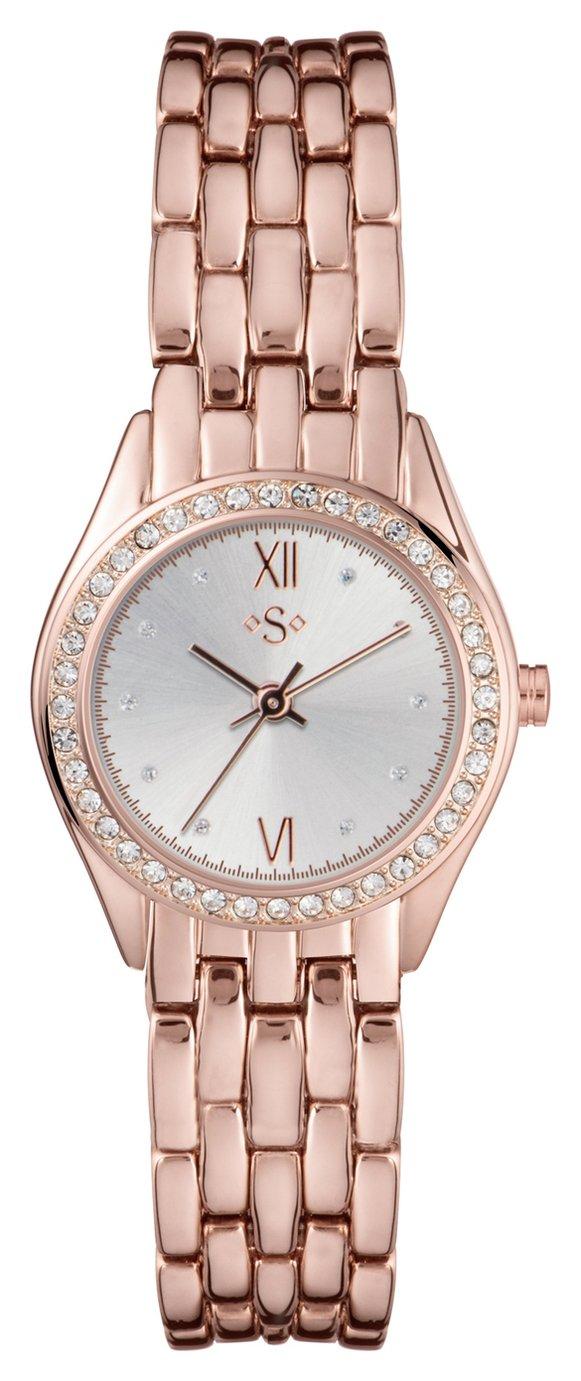 Spirit Ladies' Rose Coloured Stone Set Dial Bracelet Watch
