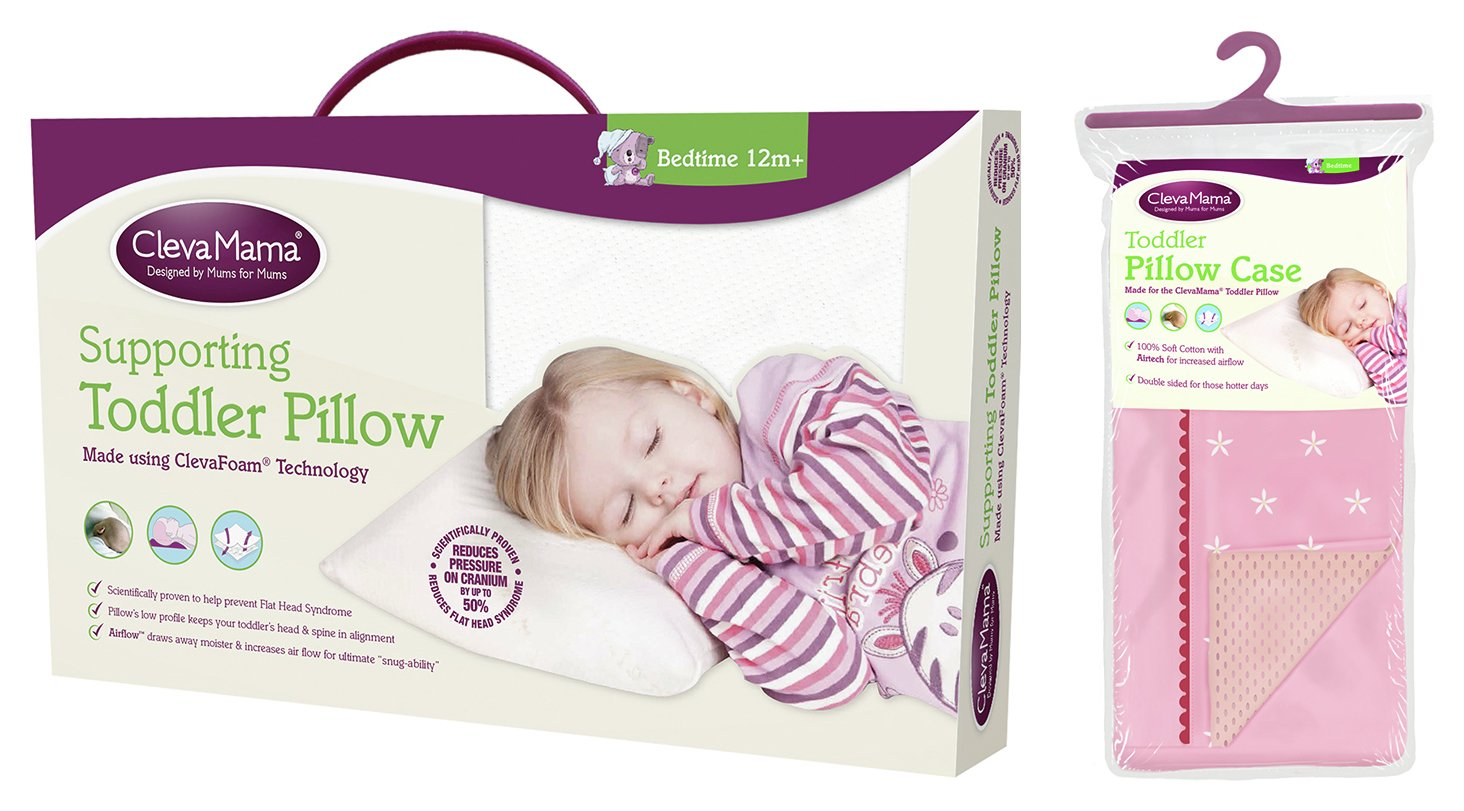 Clevamama Toddler Pillow in Clevafoam + Pillowcase Pink
