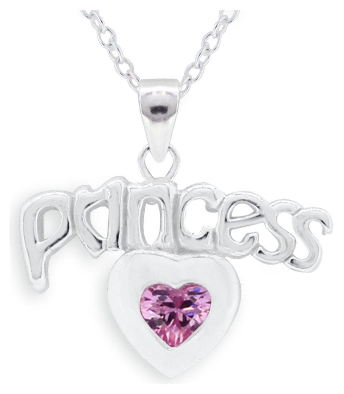Miss Glitter - Silver Cubic Zirconia Princess Heart Pendant