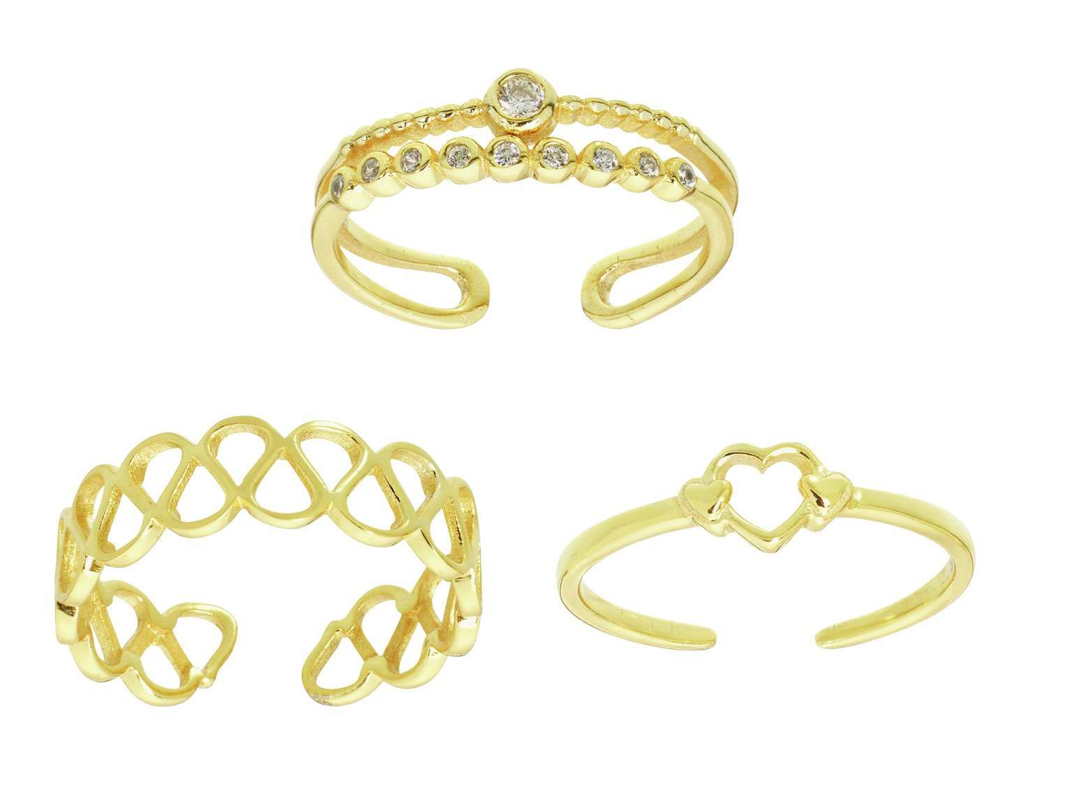 State of Mine 9ct Gold Plated Silver Toe Rings - Set of 3