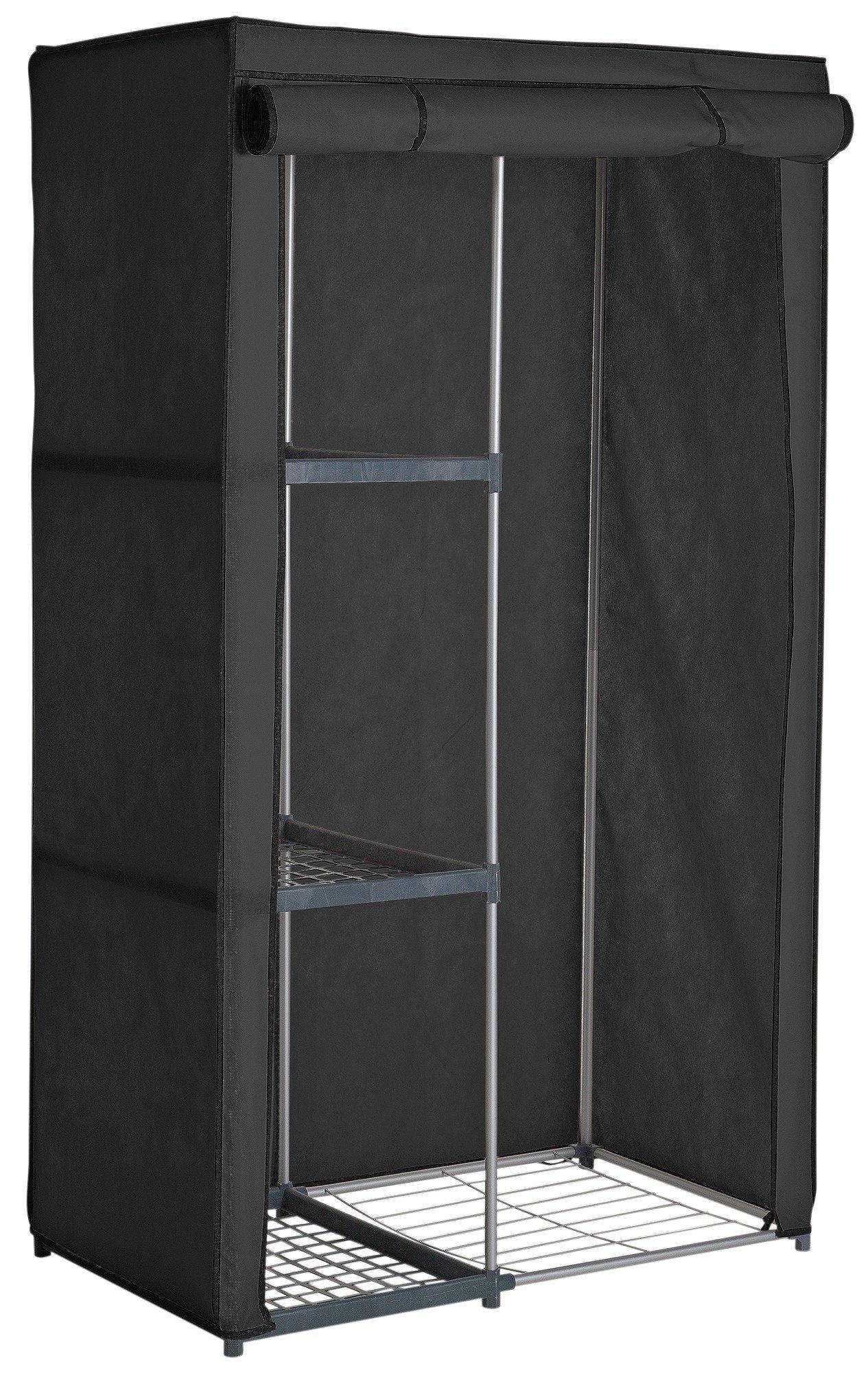 home metal and polycotton single wardrobe  black.