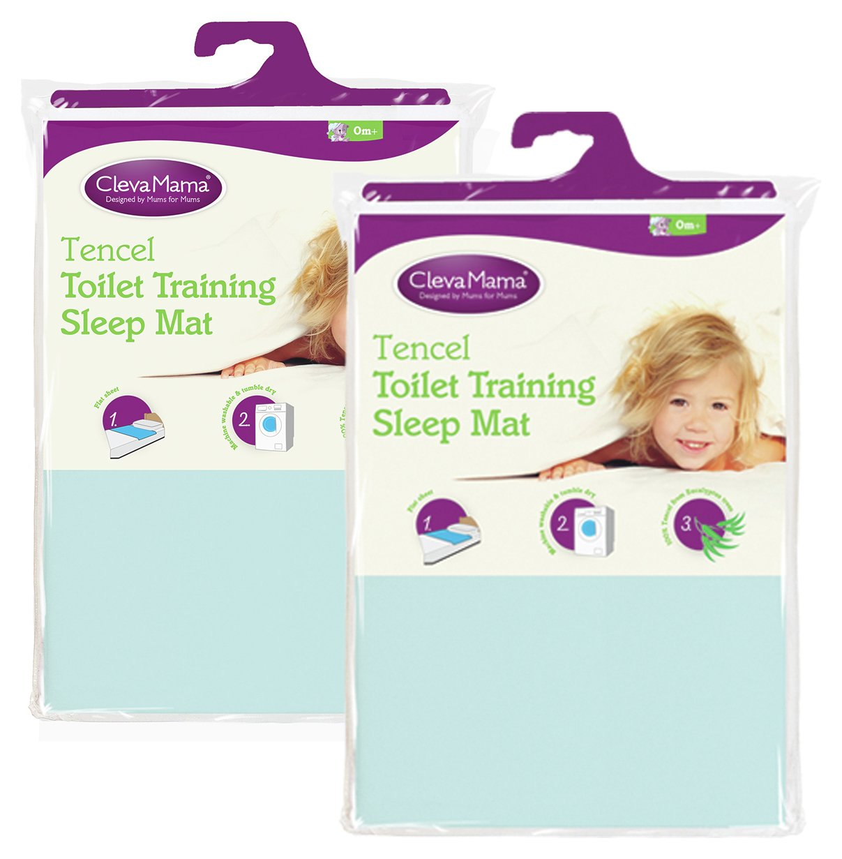 Image of Clevamama - 2 Pack Tencel Toilet Training Mat - Blue