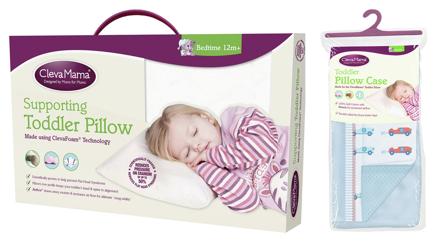 Clevamama Toddler Pillow in Clevafoam + Pillowcase Blue
