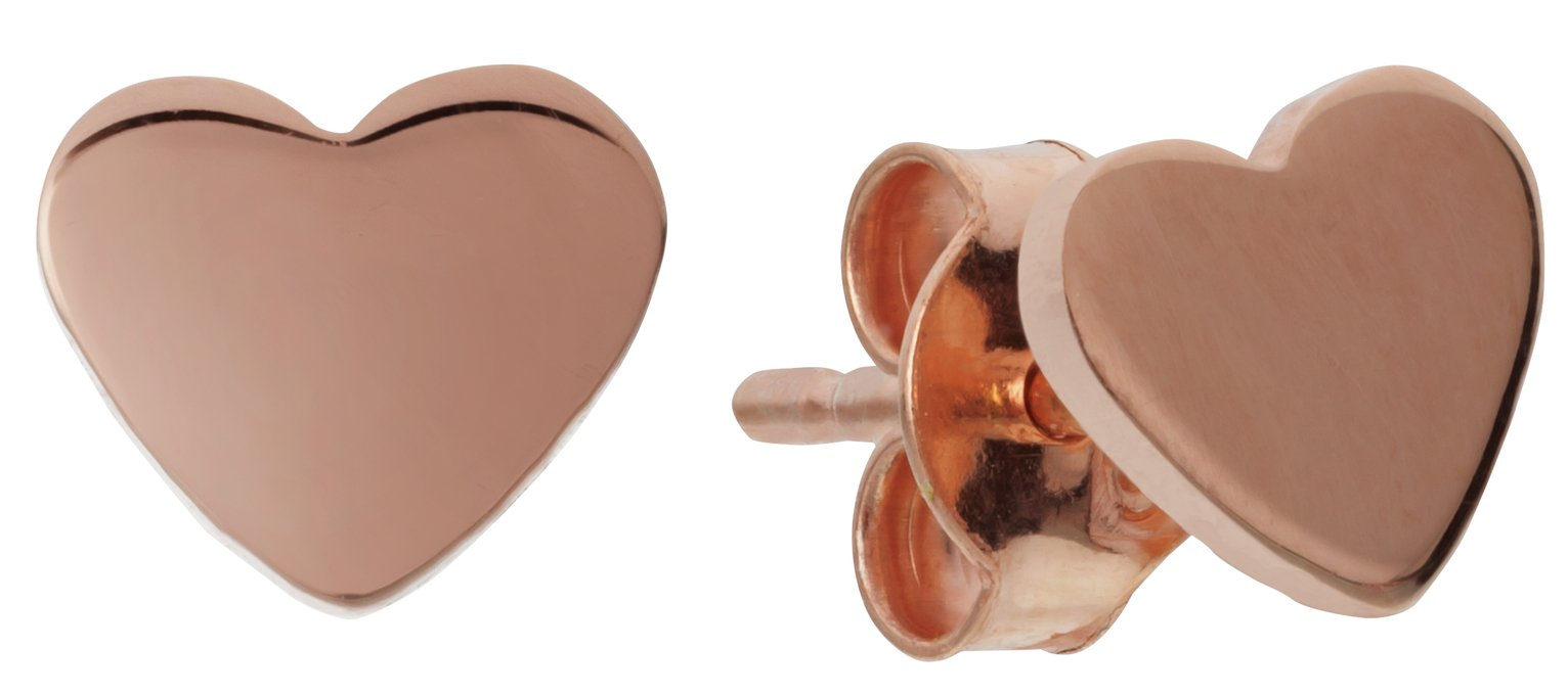 Revere 9ct Rose Gold Plated Silver Heart Stud Earrings
