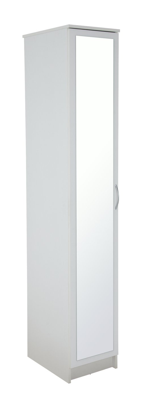 Argos Home Cheval Single Mirrored Wardrobe - White