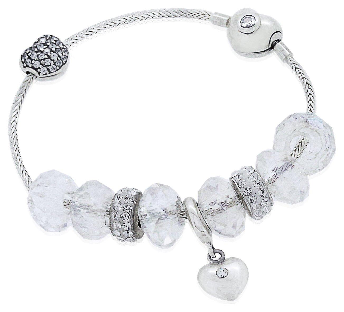 Revere Kid's Silver Colour Beaded Charm Bracelet