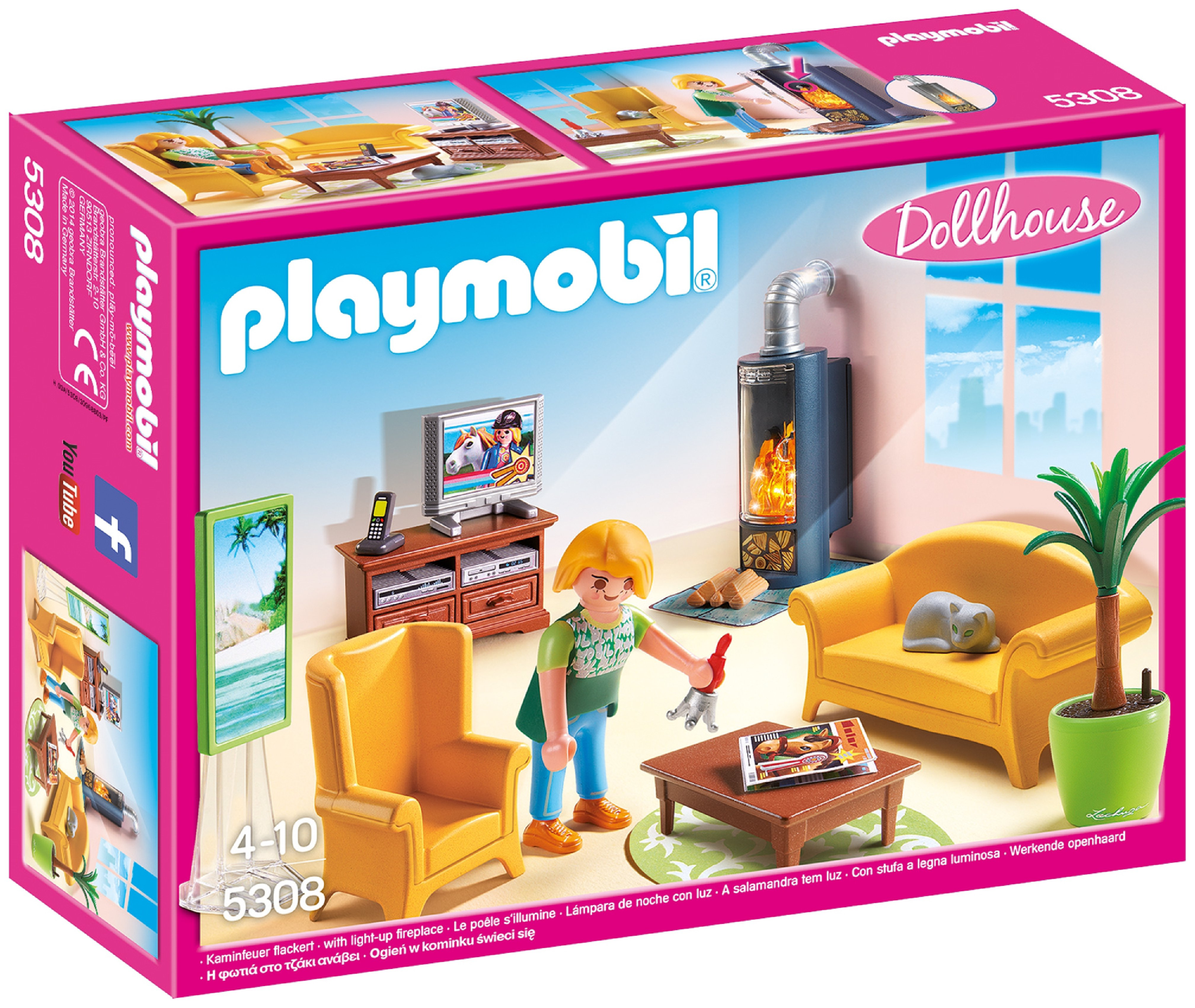 Playmobil 5308 living room with fireplace review for Playmobil living room 4282