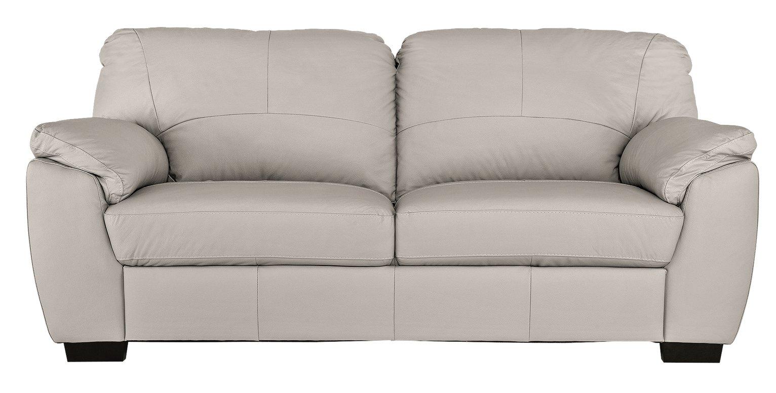 Argos Home Milano 3 Seater Leather Sofa - Light Grey
