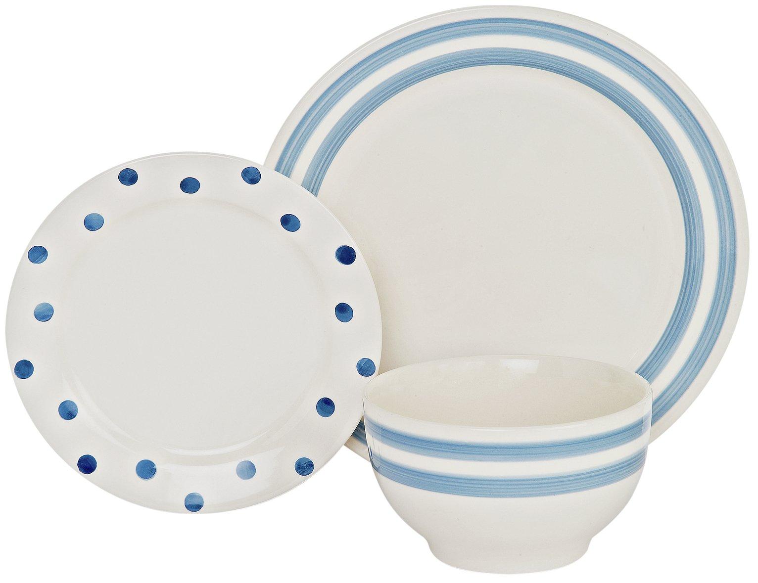 Argos Home 12 Piece Country Stripes Ceramic Dinner Set Blue