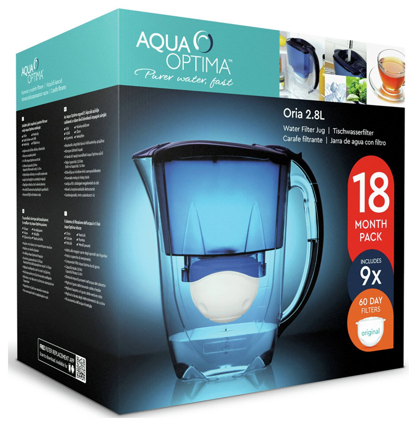 Image of Aqua Optima - Oria Blue Jug with Cartridges - 9 Pack