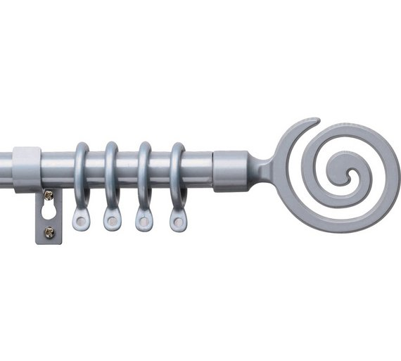 Buy HOME Extendable Swirl Metal Curtain Pole Set - Silver at Argos ...
