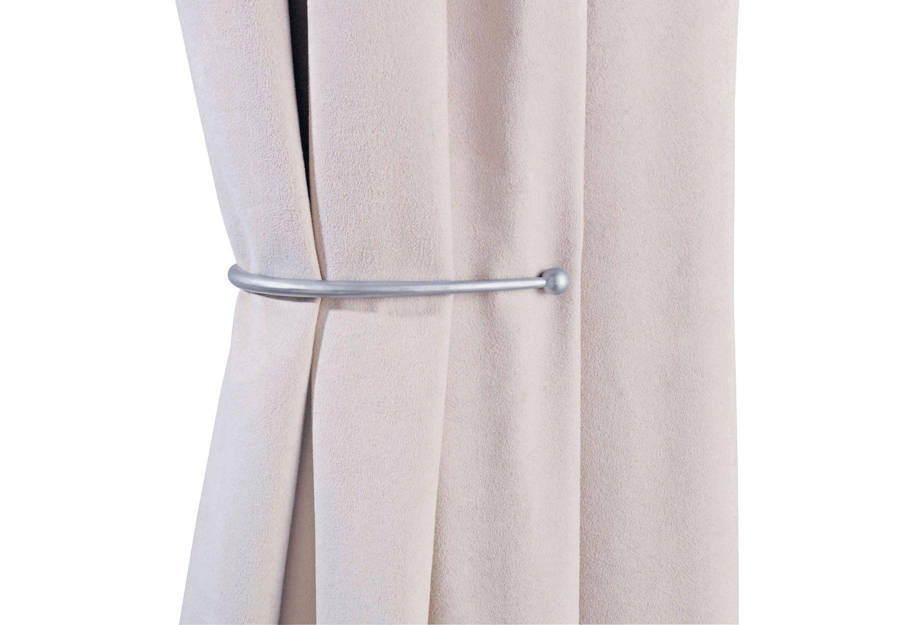 Argos Home Pair of J-Shaped Curtain Holdbacks - Silver