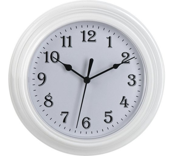 buy simple value white plastic wall clock clocks argos