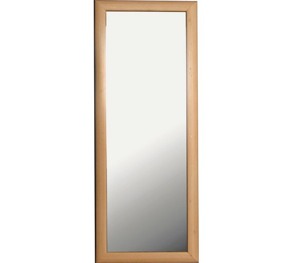 Buy simple value pine effect framed tall wall mirror at for Tall wall mirrors