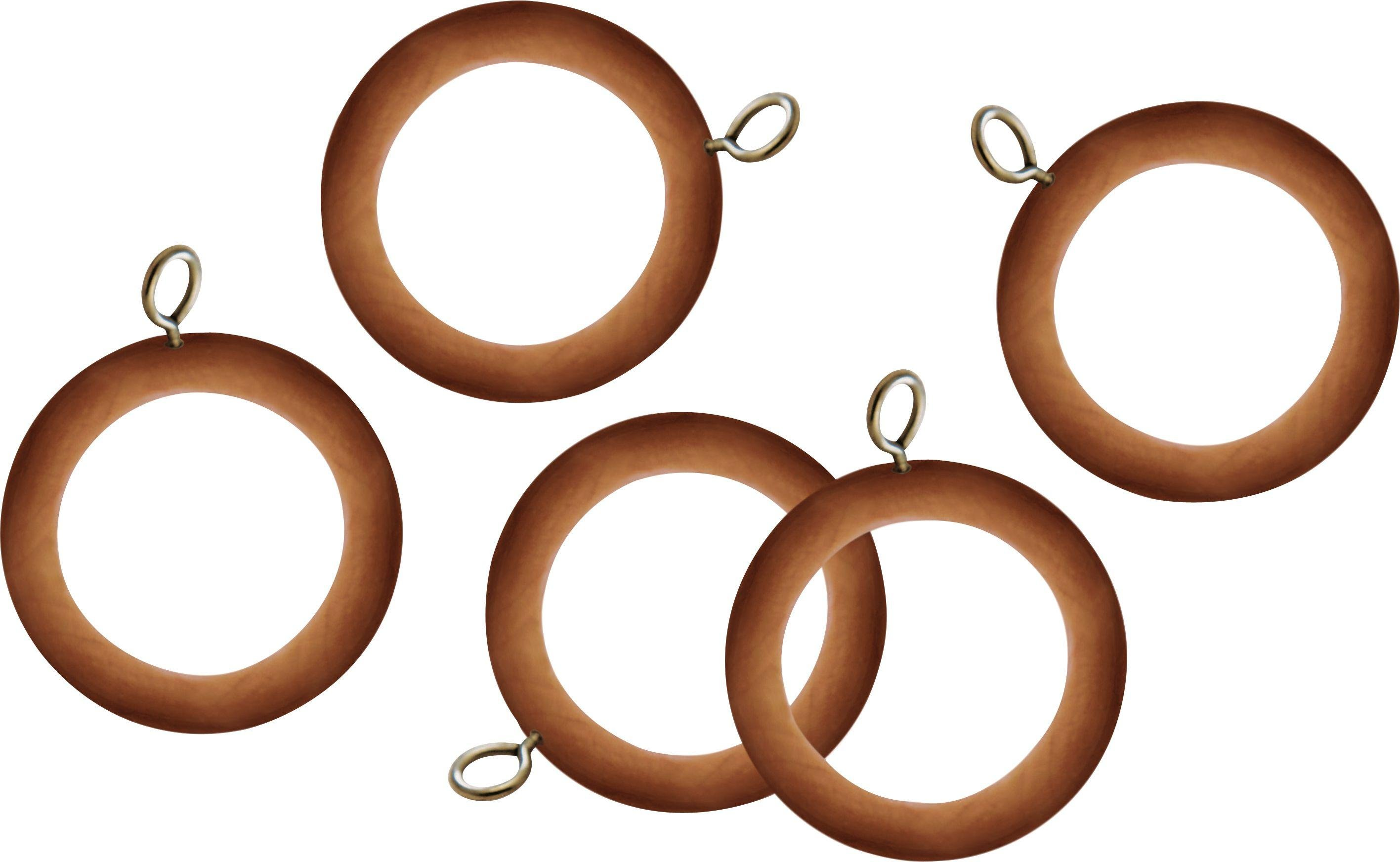 Argos Home Set of 20 Wooden 35mm Curtain Rings - Pine