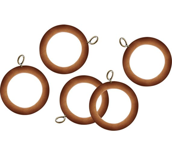 Argos Home Set Of 20 Wooden 35mm Curtain Rings