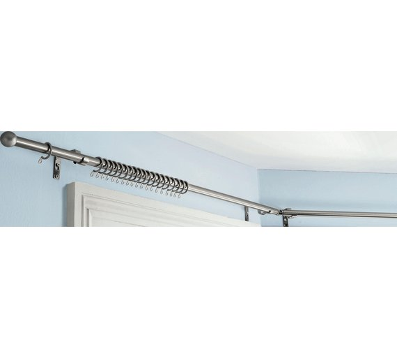 Curtains Ideas bay window curtain pole ceiling fix : Buy HOME 400cm Bay Window Curtain Pole Set - Stainless Steel at ...