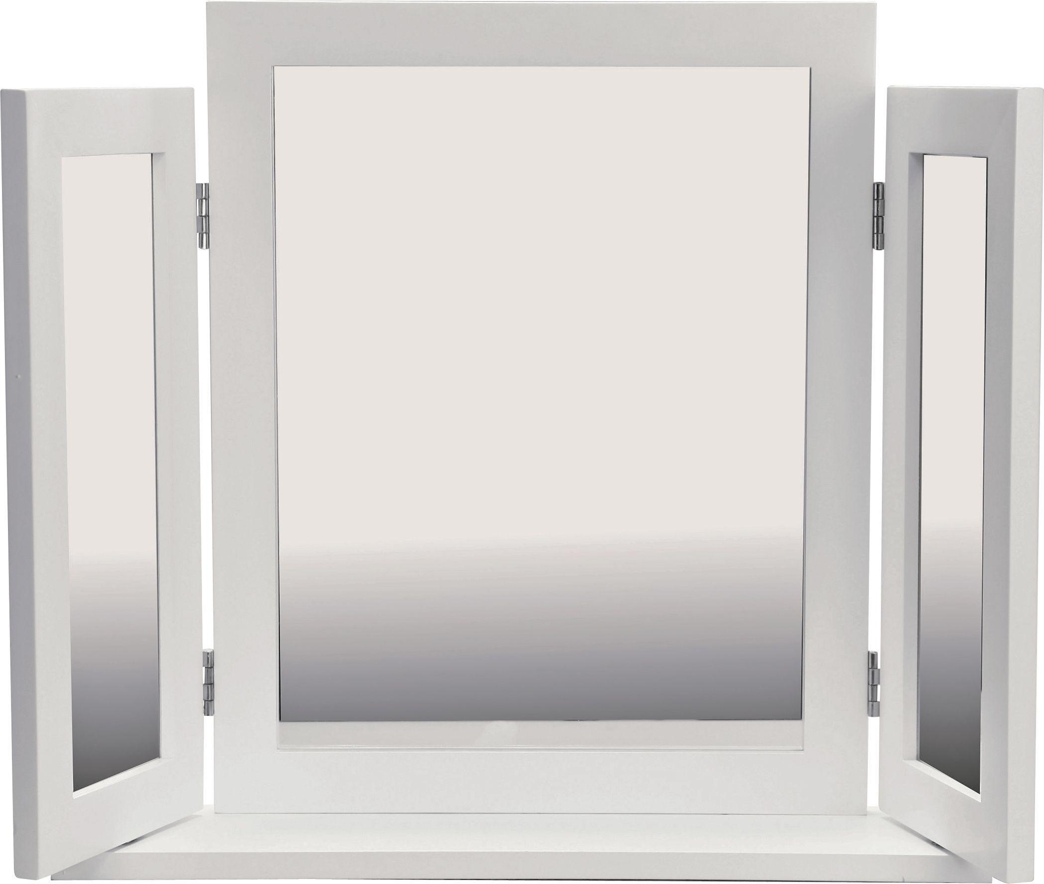 Home triple dressing table mirror white attractive - White mirror for dressing table ...