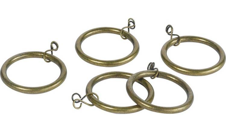 Argos Home 20 Metal 28mm Curtain Rings - Antique Brass