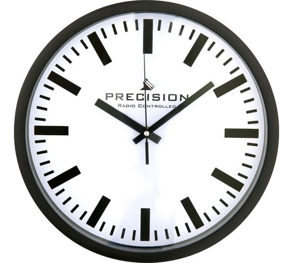 Black Kitchen Clock Argos: Precision Radio Controlled Wall Clock Clear Black Numbers