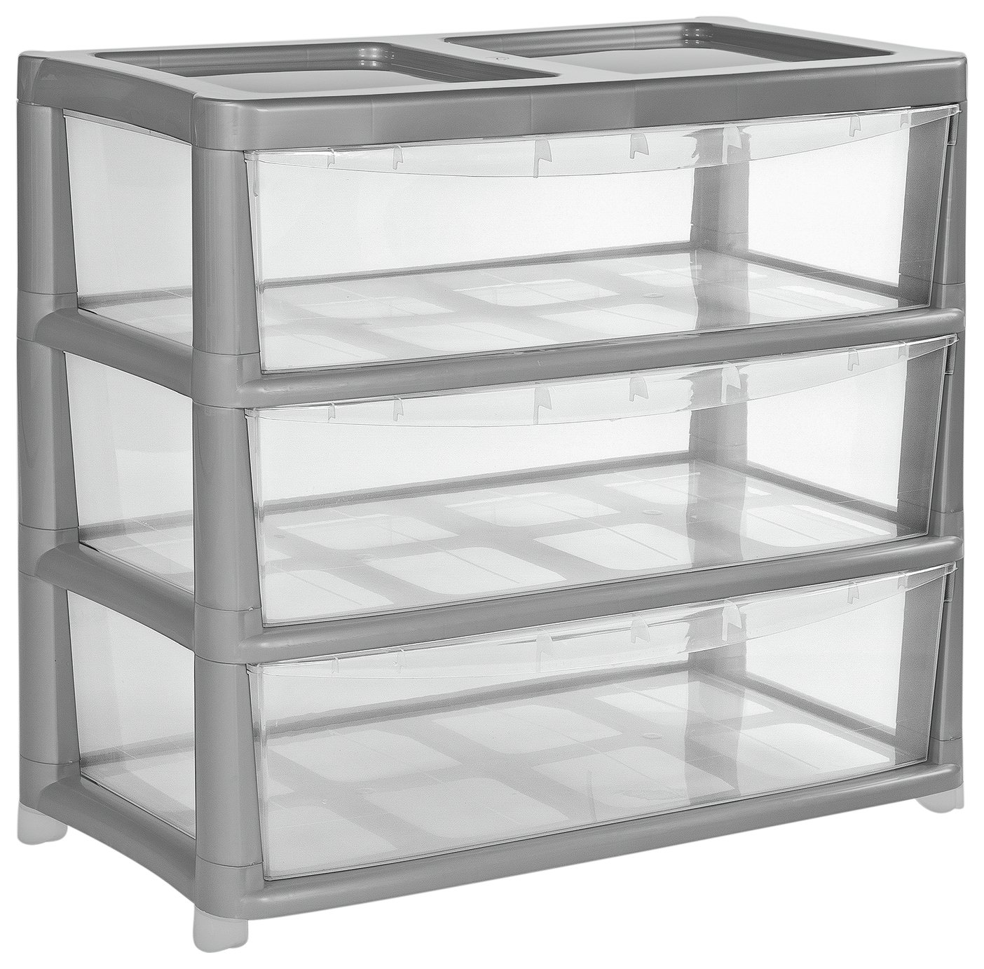 Image of HOME 3 Drawer Gloss Plastic Wide Tower Storage Unit ??? Silver