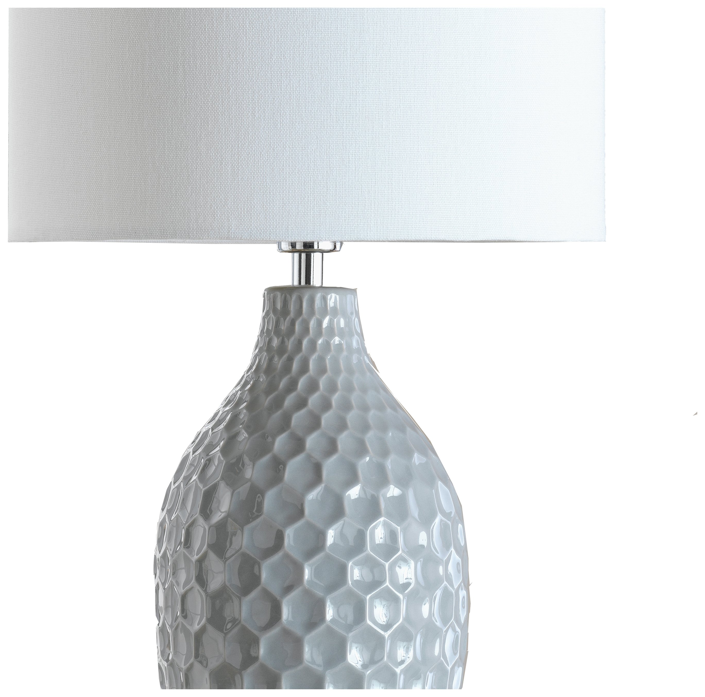 Heart of House - Woodburn Hexagonal - Ceramic - Table Lamp - Grey