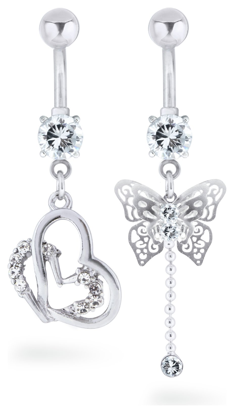 'State Of Mine Stainless Steel Butterfly Belly Bar - Set Of 2