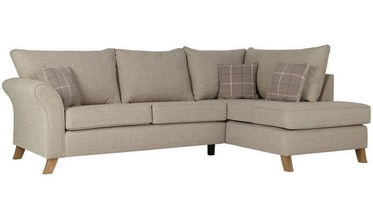 Buy Argos Home Kayla Right Corner Fabric Sofa Beige   Sofas   Argos