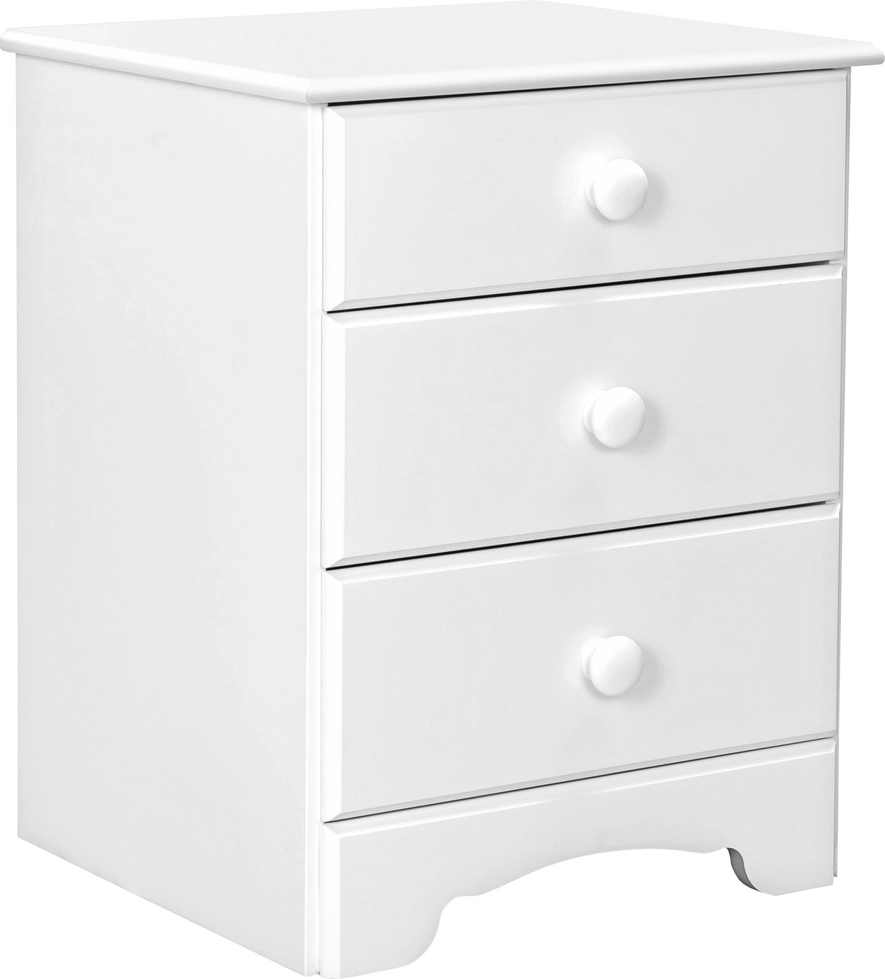 Argos Home Nordic 3 Drawer Bedside Table - Soft White