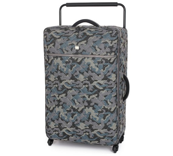 Buy IT Luggage Large Quilted 4 Wheel Camo Suitcase - Grey at Argos ...