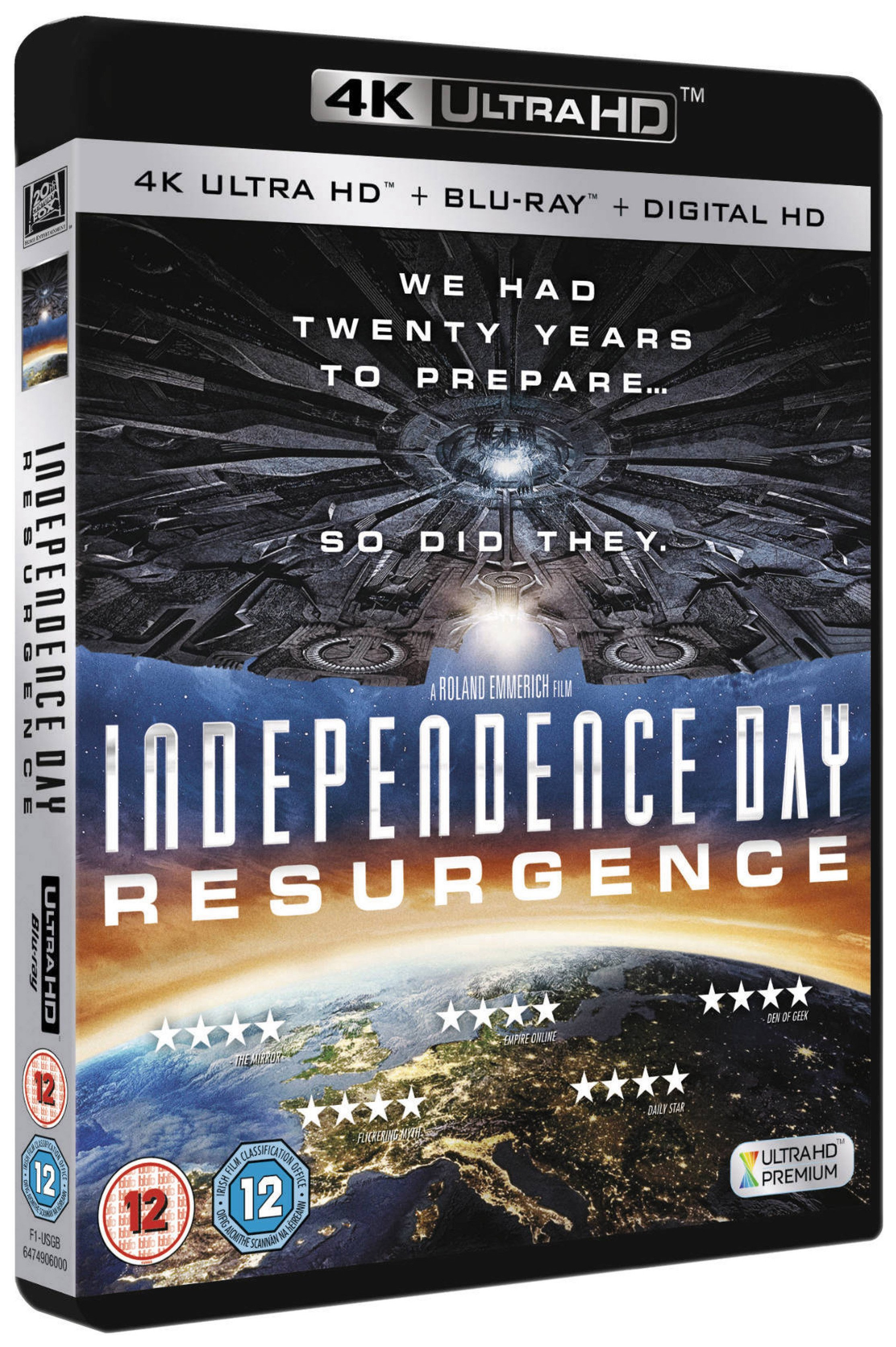 Independence Day Resurgence 4K Blu-ray DVD.